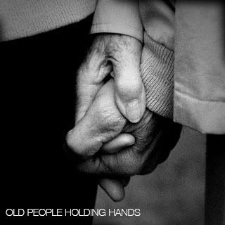 HI old people holding hands